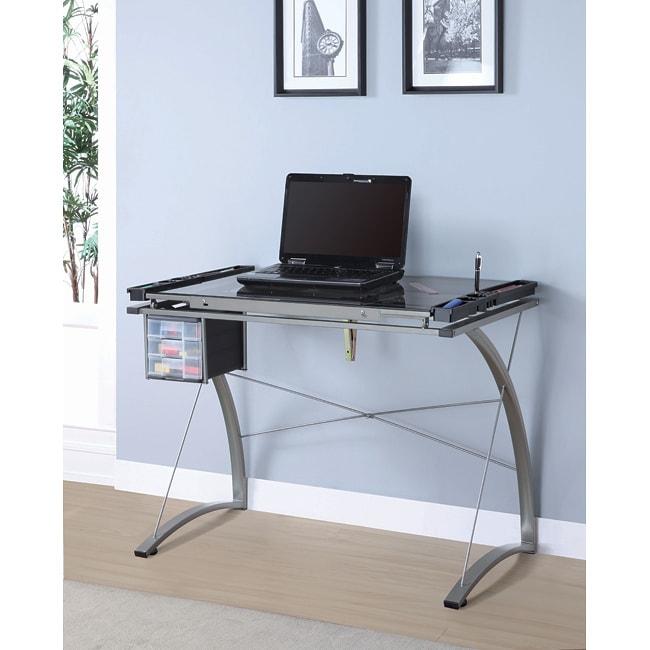 Champagne Metal Adjustable Tilt Top Desk