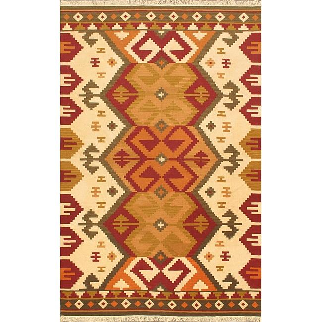 Hand-woven Anatolian Kilim Burgundy Wool Rug (5' x 8')