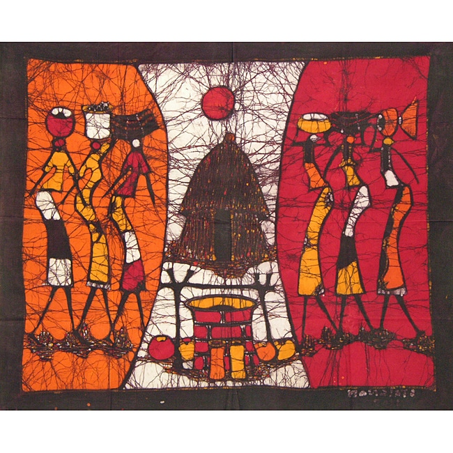 'Off to the Well' Batik Tapestry (Mozambique)