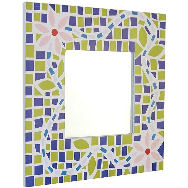 Square Wooden Mirror with Silkscreen Mosaic Flower Design