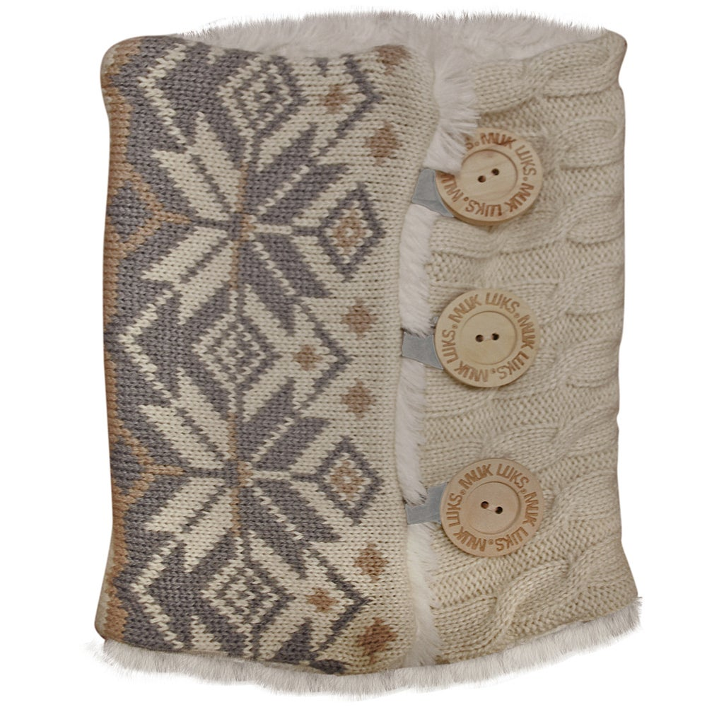 Muk Luks Winter White Snowflake Cable Boot Sweaters