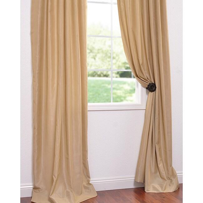 Exclusive Fabrics Brut Vintage Faux Textured Dupioni Silk 108-inch Curtain Panel