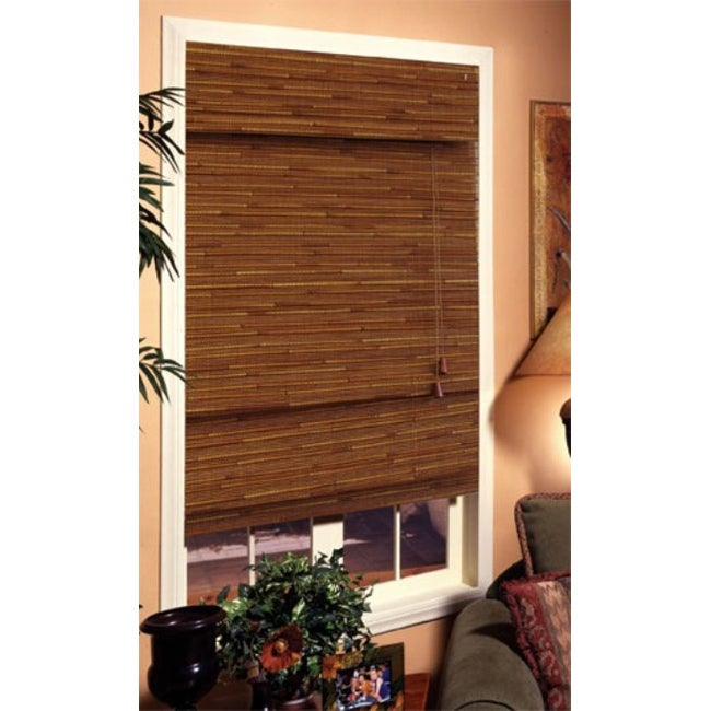 Louvera Rustic Brown Roman Shade (27 in. x 72 in.) - Thumbnail 0