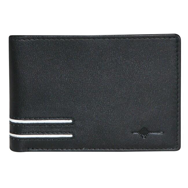 Buxton Men's Black Luciano Front Pocket Slim Bi-fold Wallet