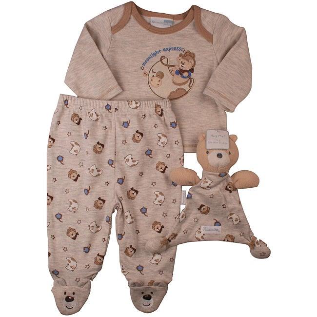 Vitamins Baby Boys Cowboy Bear Footed Pajama Set with Blanket Buddy