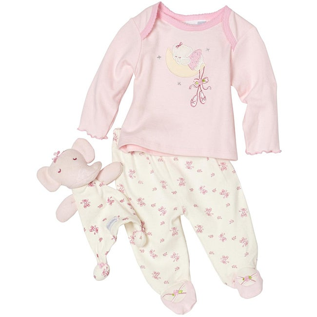 Vitamins Baby Girls Elephant Footed Pajama Set with Blanket Buddy