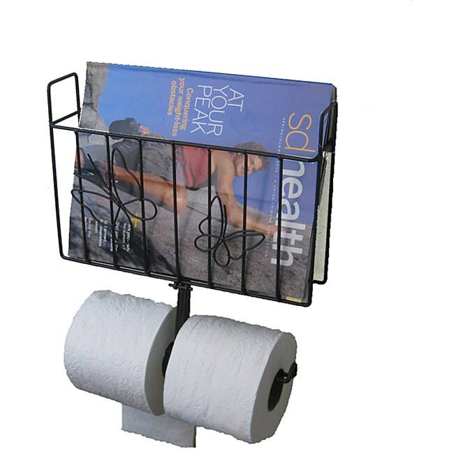 Metal Magazine Rack with Toilet Tissue Dispenser