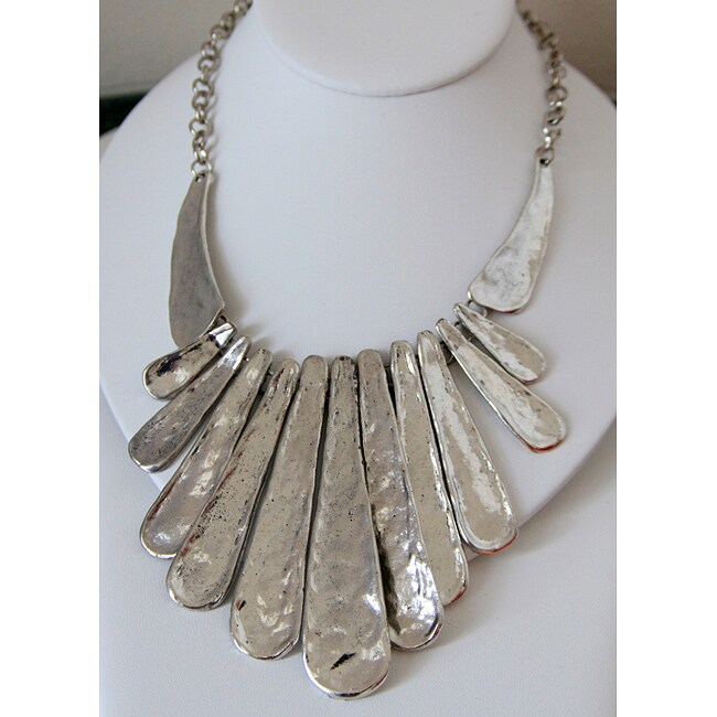 Silvertone Hammered Paddle Necklace