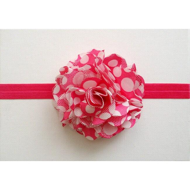 Hot Pink and White Polka Dot Headband