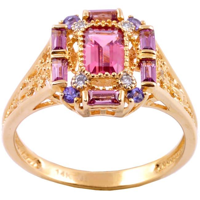 Michael Valitutti 14k Gold Multi-gemstone and Diamond Accent Ring
