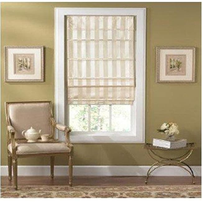 Taos Cordless Off White Striped Fabric Roman Shade 35 In