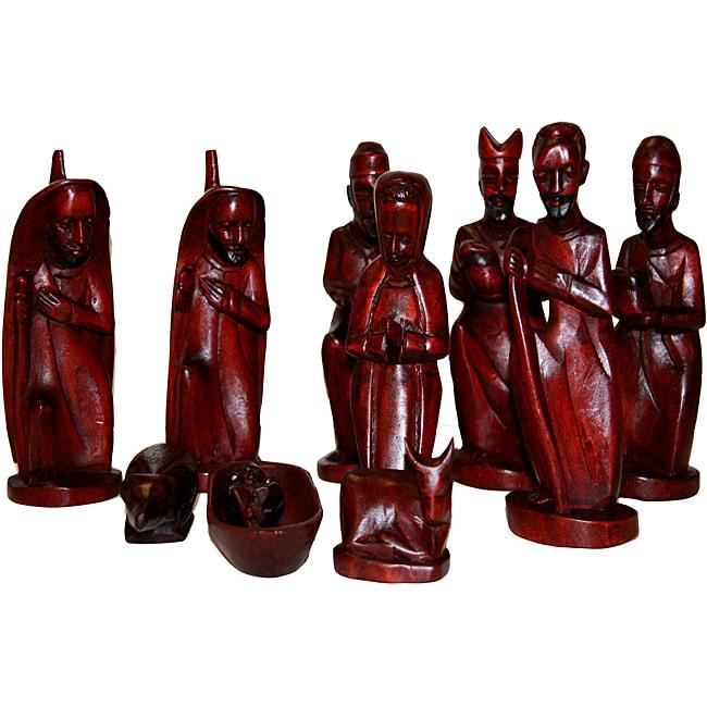 Global Handmade Hope Mahogany Wood Nativity Decor (Rwanda)