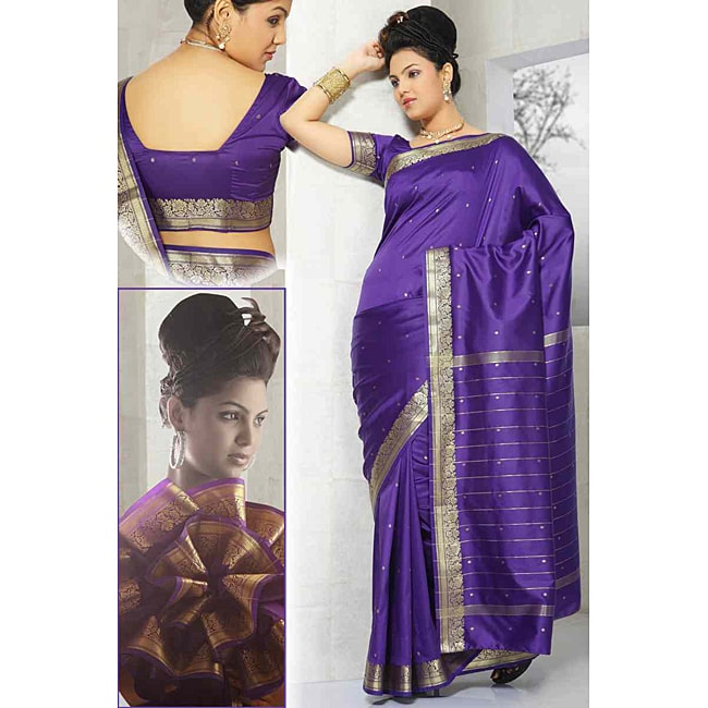 Purple Green Sari Fabric with Golden Border (India)