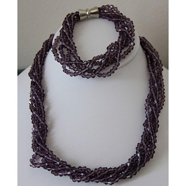 Purple Crystal Necklace and Bracelet Set