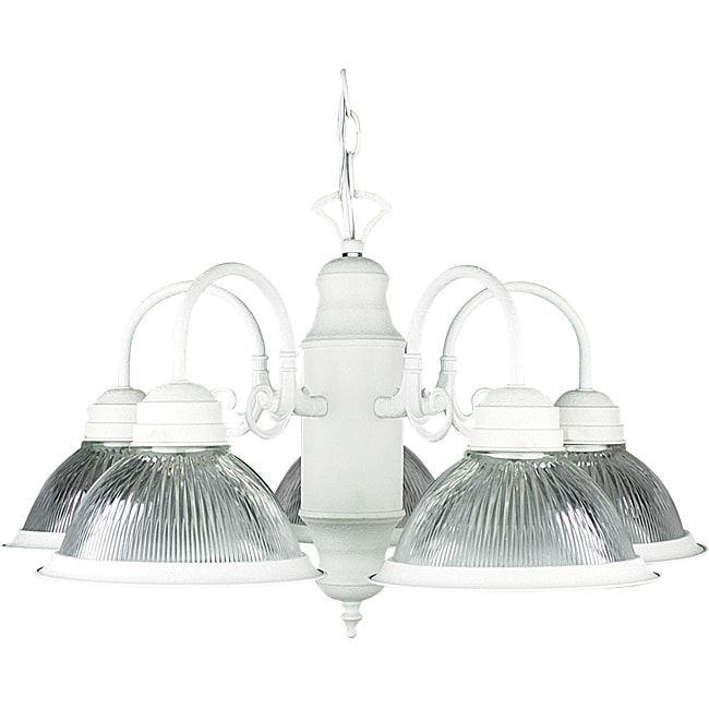 Modern Five-Light Textured White Chandelier