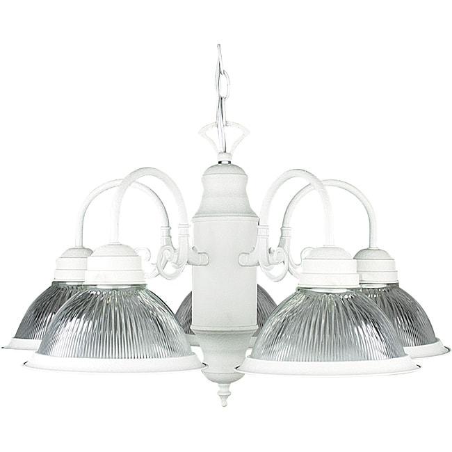 Modern Five-Light Textured White Chandelier
