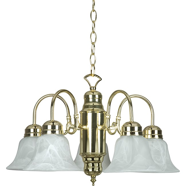Five-light Polished Brass Chandelier