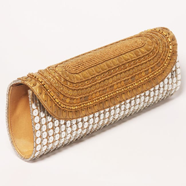 Antique and Beige Embroidery Patna Clutch (India)