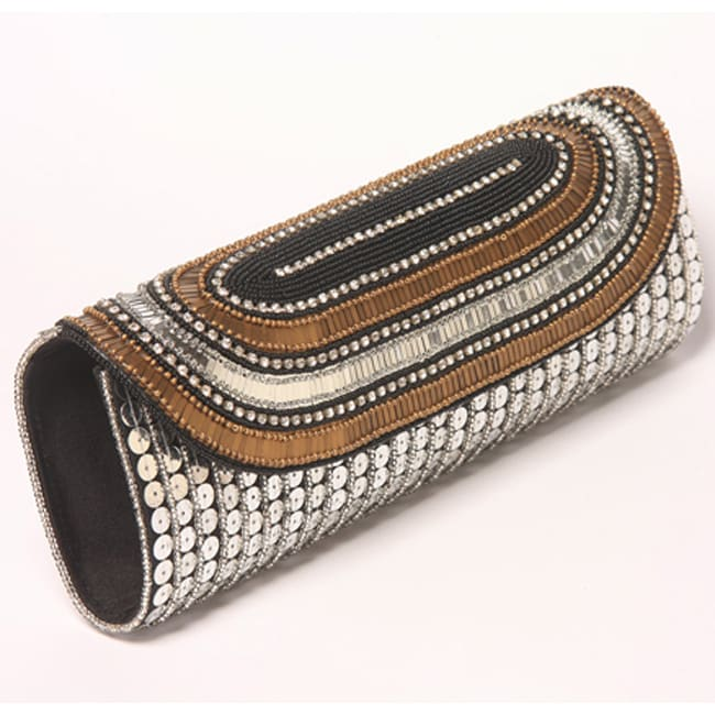 Fabric and Silver Embroidered Sequin and Crystal Patna Clutch (India)