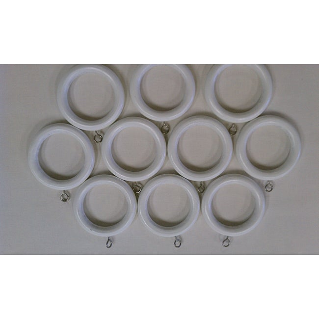 Arlo Blinds White Wooden Rings (Set of 10)