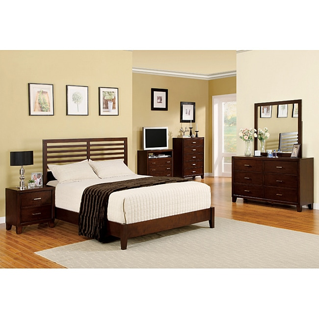 Furniture of America Melva Brown Cherry Finish 4-piece Queen-size Bed Set