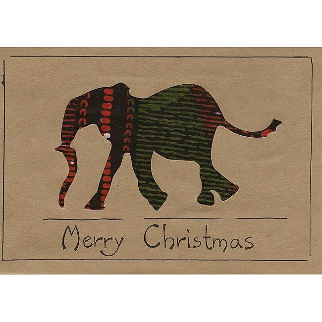 shop set of 4 'merry christmas' elephant kitenge fabric