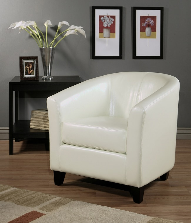 Abbyson Living Montecito Ivory Bicast Leather Armchair