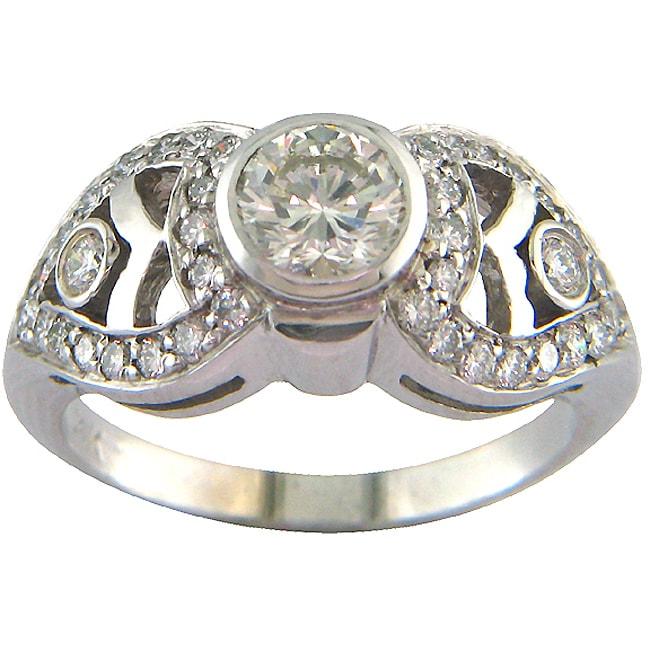 14k White Gold 1 1/6ct TDW Certified Clarity-enhanced Round Diamond Engagement Ring (K-L,VS2 )