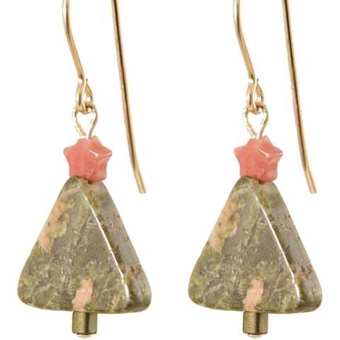 Unakite Holiday Tree' Gold Fill Earrings