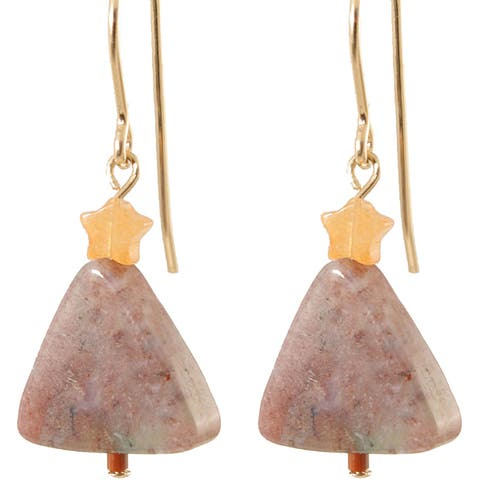 Handmade Fancy Agate Gold Fill Holiday Tree Earrings