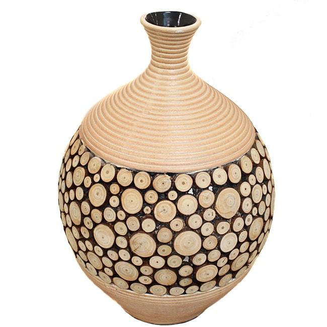 Casa Cortes Round Artesian Ceramic Inlay Wood Vase