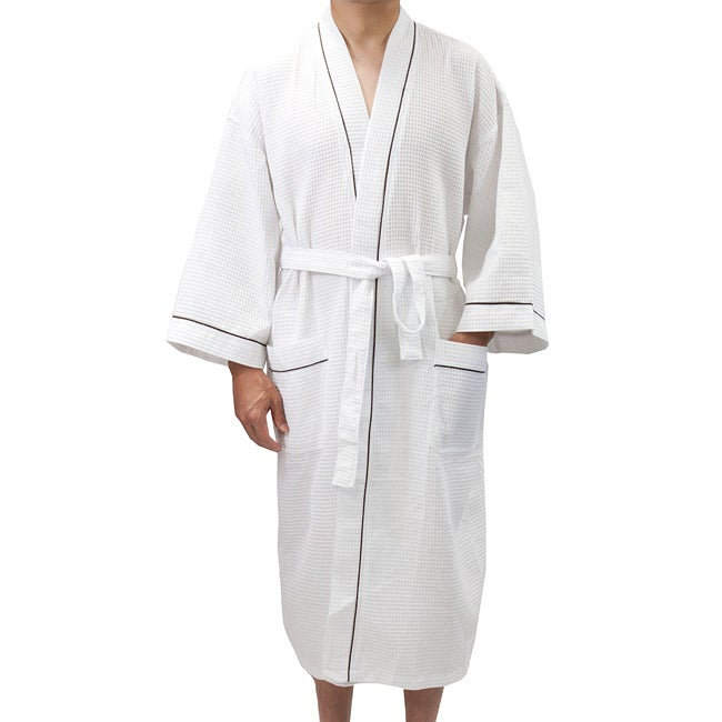 Leisureland Men's White Waffle Weave Spa Bath Robe