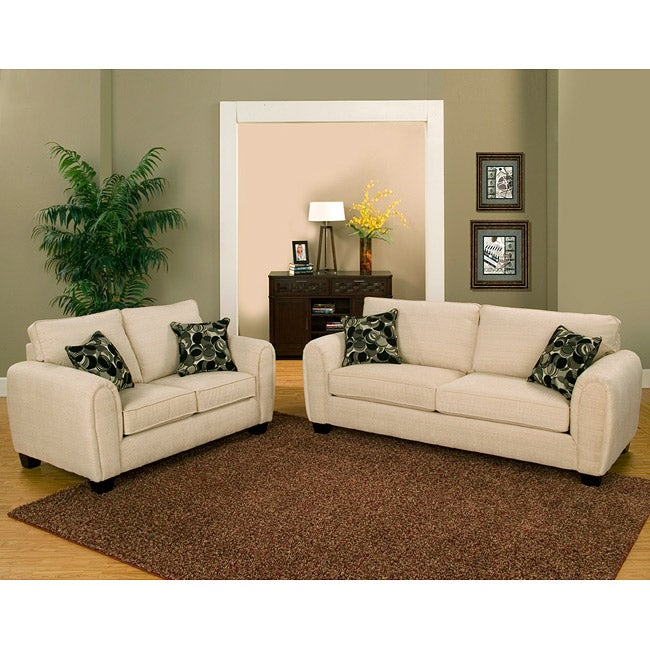Furniture of America Summer Chenille Fabric 2-piece Sofa and Loveseat Set