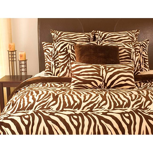 Microplush zebra print 3 piece queen comforter set free for Zebra kitchen set