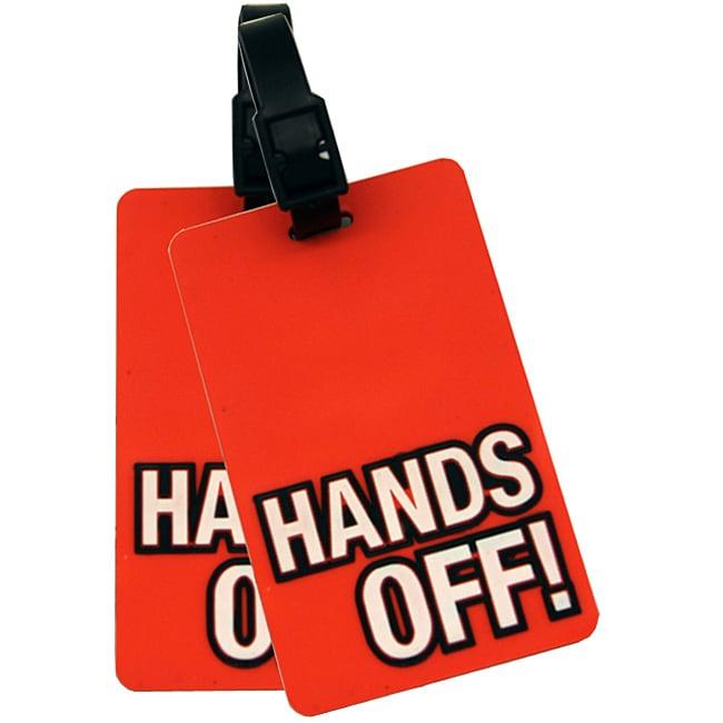 "Naftali Orange ""'Hands Off!' Rubber Luggage ID Tag (set of 2)"