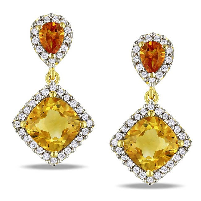 Miadora Yellow-plated Silver Citrine and 1/5ct TDW Diamond Earrings (G-H, I2-I3) - Thumbnail 0