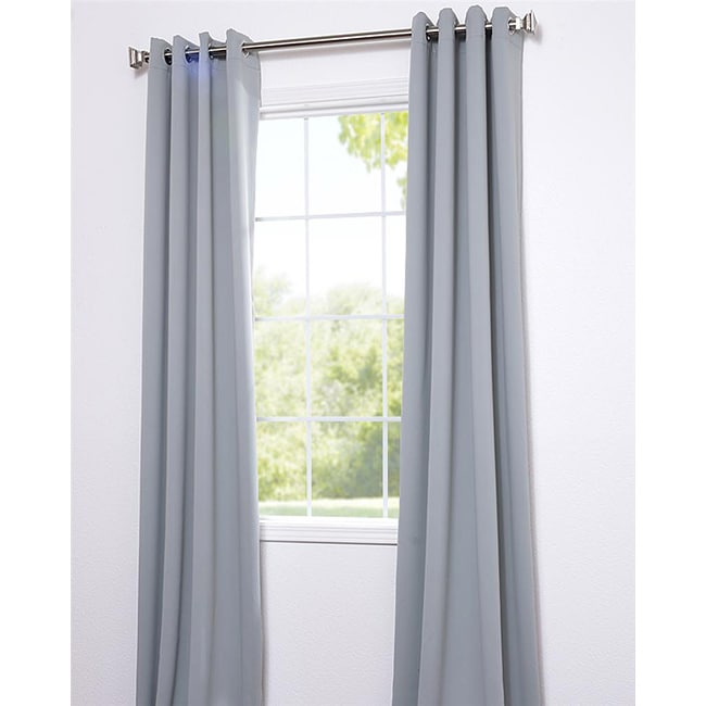 Exclusive Fabrics Purit Blue Thermal Blackout 84-inch Curtain Panel Pair