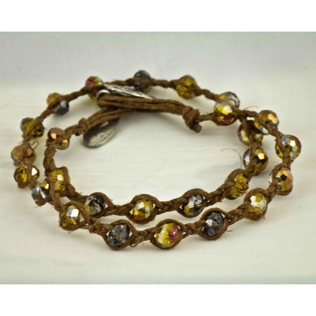 Praols Story Bracelets 'Live Laugh Love' Glass Bead Cord Bracelet