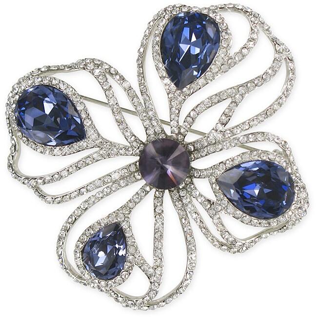 Stylish Capri Blue Crystal Design Brooch