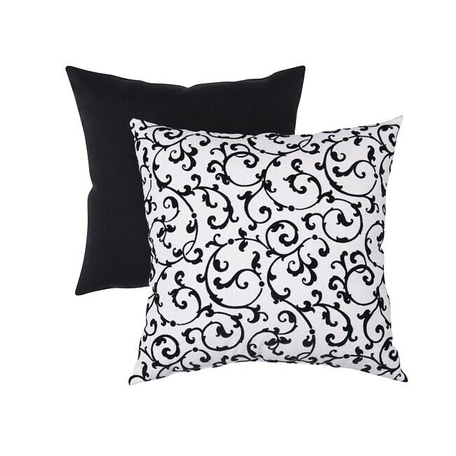 Pillow Perfect Decorative Black/ White Flocked Damask Square Toss Pillow