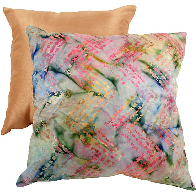 Pillow Perfect Decorative Multicolored New Age Flame Stitch Square Toss Pillow