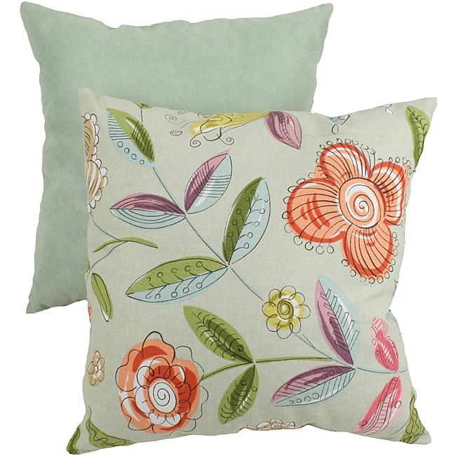Pillow Perfect Green Modern Floral Throw Pillow