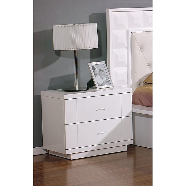Pure white lacquer nightstands set of 2 free shipping for Extra tall nightstands