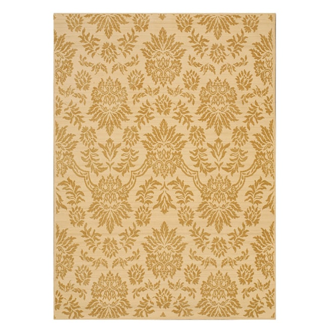 Shop Himalaya Ivory Gold Floral Wool Rug 7 10 X 11 2