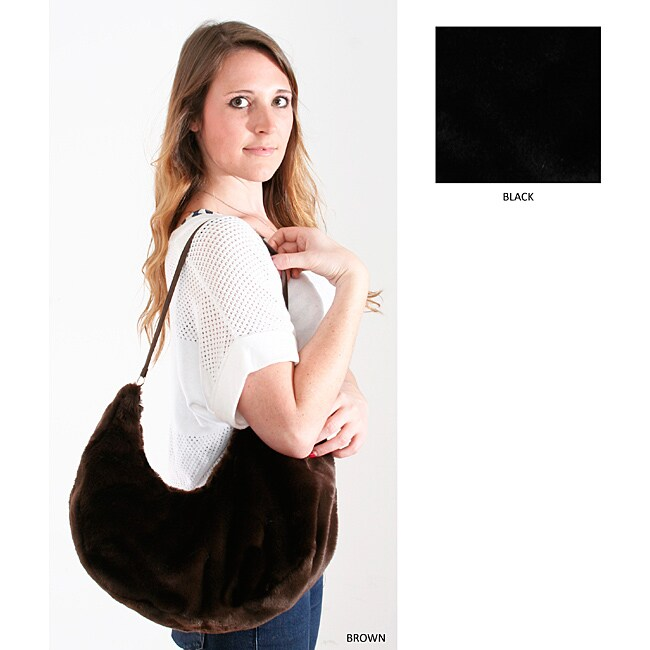 Marlo Lorenz Uptown Solid Faux Fur Hobo Bag