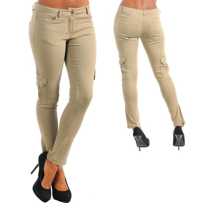Stanzino Women's Khaki Cargo Pocket Stretch Pants - Free Shipping ...