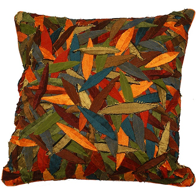 LNR Home Multi-colored Primitive Leaves 18-inch Pillow