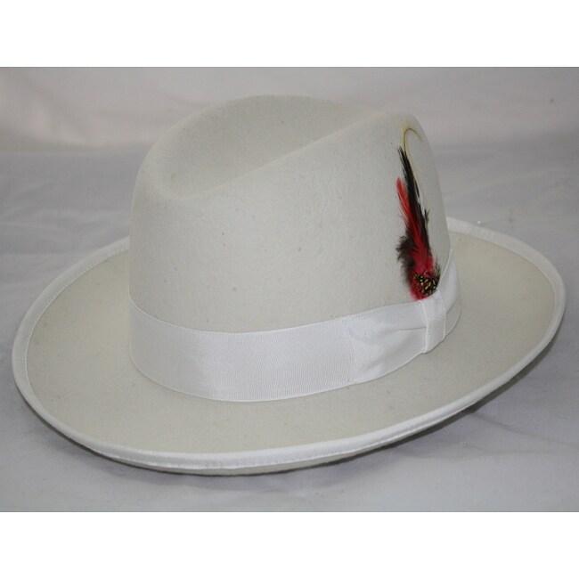 Ferrecci Men's White Wool Godfather Hat