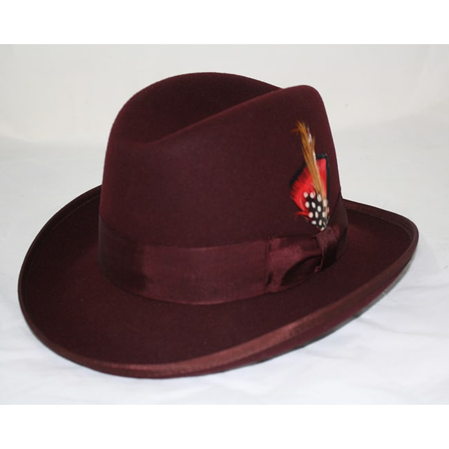 Ferrecci Men's Burgundy Wool Godfather Hat