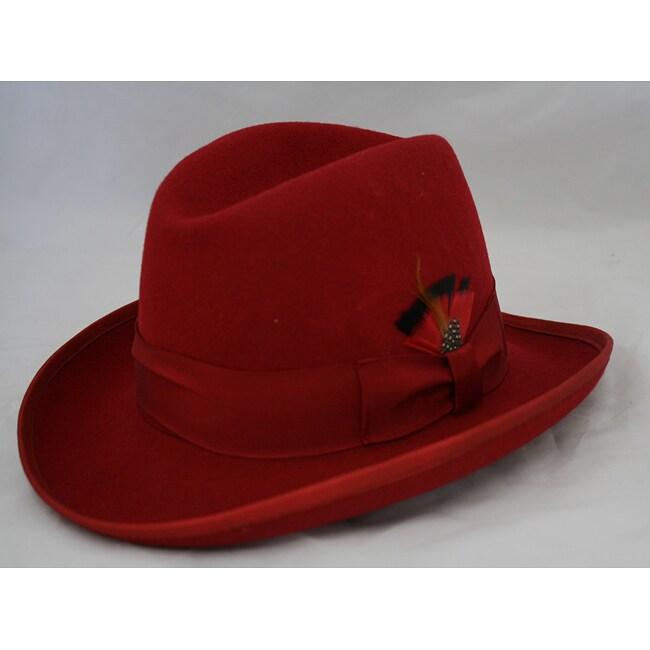 Ferrecci Men's Red Wool Godfather Hat